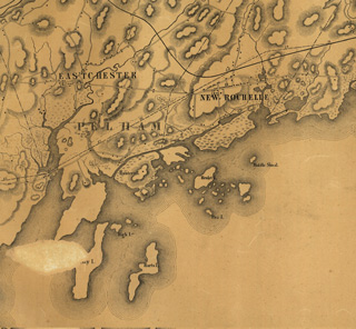 Portion of P. Anderson's 1845 map of the proposed route of the New York and New Haven Railroad, showing Davids Island identified as Henlet Island, perhaps a corruption of an older place-name, Hewitts Island (Library of Congress digital collections)