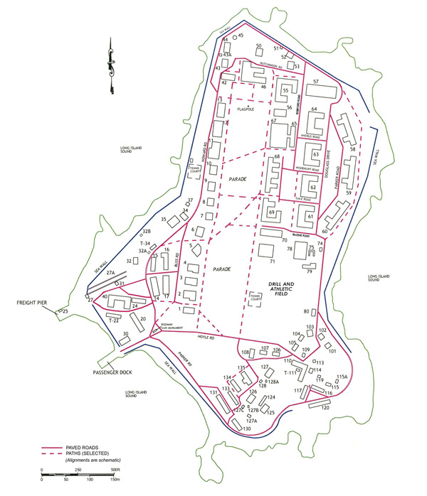 Sketch map of Fort Slocum in the early 1960s, with building numbers as used during demolition project.