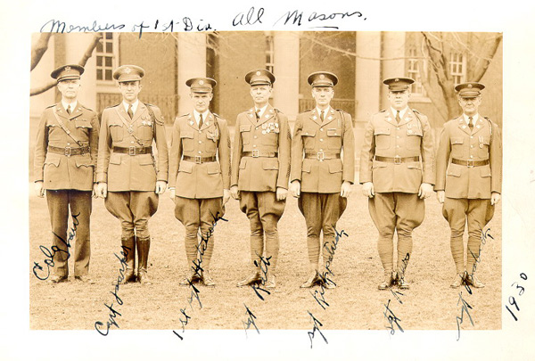 A group of Fort Slocum's officers and NCOs who also shared a bond of fraternity through membership in the Freemasons standing in front of the Administration Building (Building 13), 1930