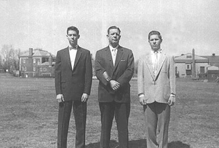Bob Sisk, at left with his father and brother Tom, Fort Slocum 1958.