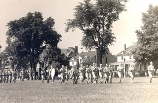 The Fort Slocum Band marching on the Parade Ground during the Second World War.