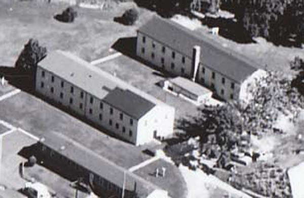 Aerial view of Building 135 (right) in the late 1950s.